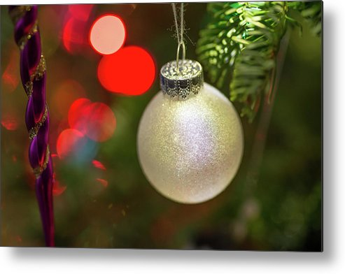 Ball Metal Print featuring the photograph Christmas Ornaments With Bokeh Background by Ognian Setchanov