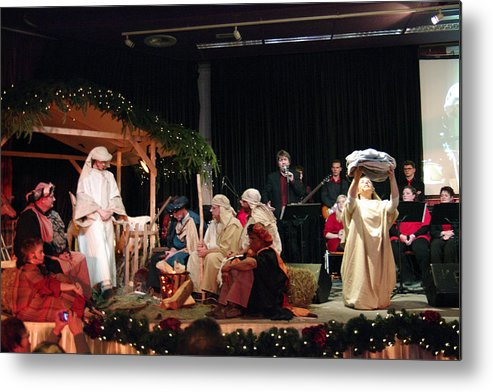 Thank You Metal Print featuring the photograph Christmas with nativity scene by Middelveld