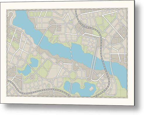 Plan Metal Print featuring the photograph City Map by Pagadesign