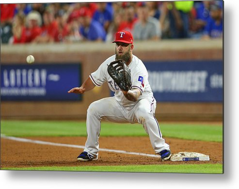 People Metal Print featuring the photograph Cleveland Indians v Texas Rangers by Rick Yeatts