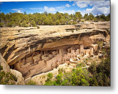 Scenics Metal Print featuring the photograph Cliff Palace in Mesa Verde, Ancient Pueblo Cliff Dwelling, Colorado by YinYang