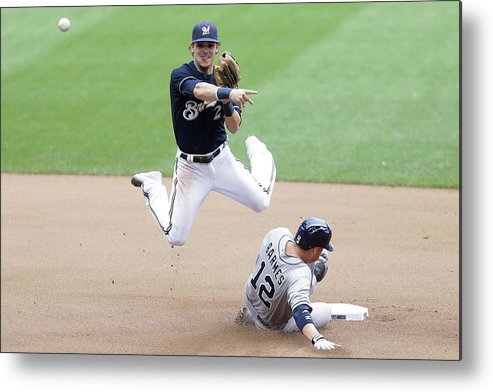 Double Play Metal Print featuring the photograph Clint Barmes and Scooter Gennett by Mike Mcginnis