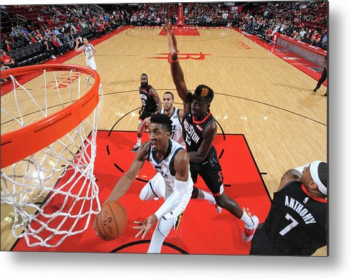 Nba Pro Basketball Metal Print featuring the photograph Clint Capela and Donovan Mitchell by Bill Baptist