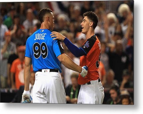Three Quarter Length Metal Print featuring the photograph Cody Bellinger and Aaron Judge by Mike Ehrmann