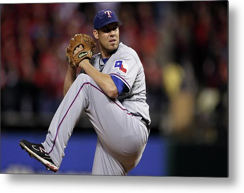 St. Louis Cardinals Metal Print featuring the photograph Colby Lewis by Ezra Shaw