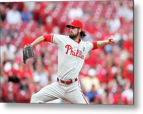 Great American Ball Park Metal Print featuring the photograph Cole Hamels by Joe Robbins