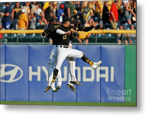 People Metal Print featuring the photograph Corey Dickerson and Starling Marte by Justin K. Aller