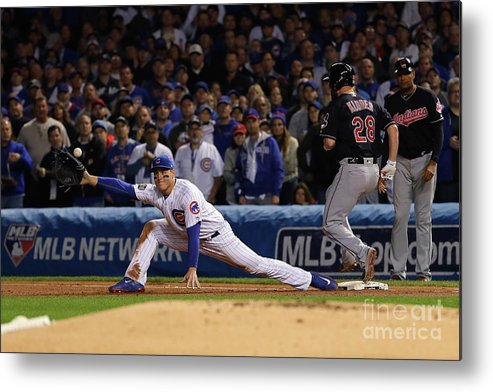 Second Inning Metal Print featuring the photograph Corey Kluber, Anthony Rizzo, and Kris Bryant by Jamie Squire