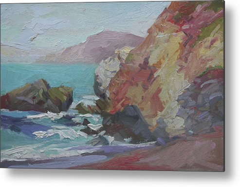 Catalina Island Plein Air Painting Metal Print featuring the painting Cottonwood Cove Catalina by Betty Jean Billups
