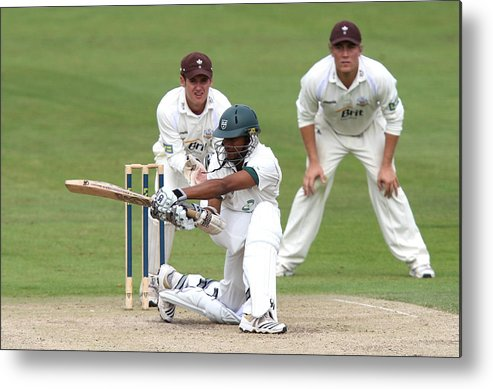 People Metal Print featuring the photograph Cricket - Liverpool Victoria County Championship - Division Two - Day Three - Worcestershire v Surrey - New Road by David Davies - PA Images