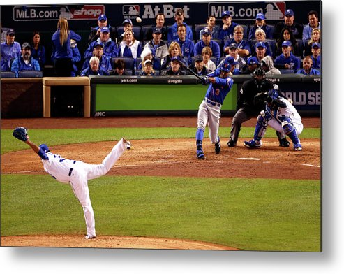 People Metal Print featuring the photograph Curtis Granderson and Edinson Volquez by Christian Petersen