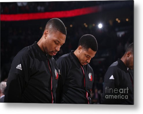 Nba Pro Basketball Metal Print featuring the photograph Damian Lillard and C.j. Mccollum by Sam Forencich