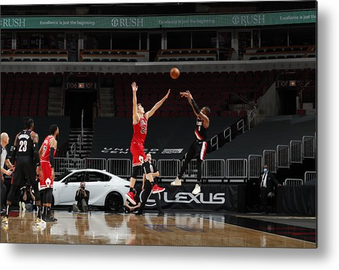 Nba Pro Basketball Metal Print featuring the photograph Damian Lillard by Jeff Haynes