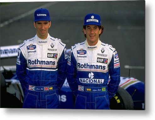 Driver Metal Print featuring the photograph Damon Hill and Ayrton Senna by Mike Hewitt