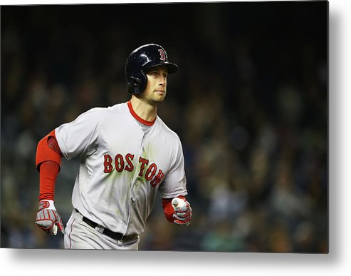 American League Baseball Metal Print featuring the photograph Daniel Nava by Al Bello