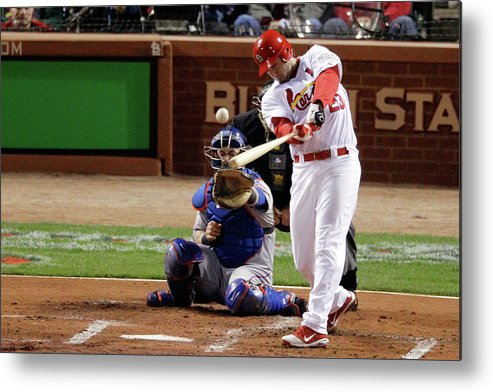 St. Louis Cardinals Metal Print featuring the photograph David Freese by Rob Carr