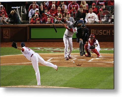 Second Inning Metal Print featuring the photograph David Ortiz and Lance Lynn by Rob Carr