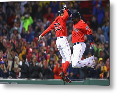 American League Baseball Metal Print featuring the photograph David Ortiz and Mookie Betts by Maddie Meyer
