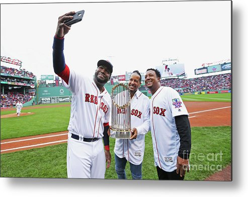 American League Baseball Metal Print featuring the photograph David Ortiz and Pedro Martinez by Maddie Meyer