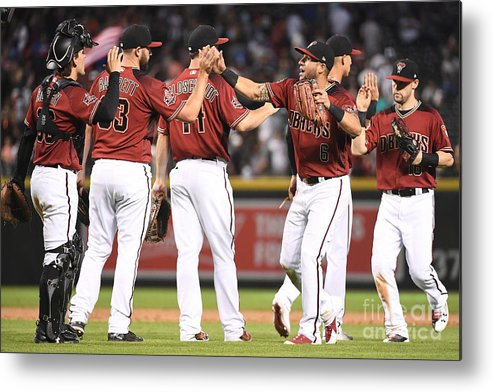 People Metal Print featuring the photograph David Peralta, Paul Goldschmidt, and Chris Owings by Jennifer Stewart