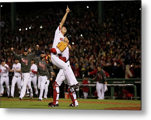 Playoffs Metal Print featuring the photograph David Ross and Koji Uehara by Rob Carr