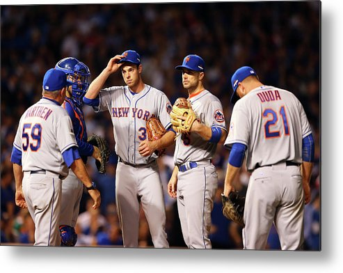 Three Quarter Length Metal Print featuring the photograph David Wright and Steven Matz by Elsa