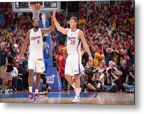 Playoffs Metal Print featuring the photograph Deandre Jordan and Blake Griffin by Andrew D. Bernstein