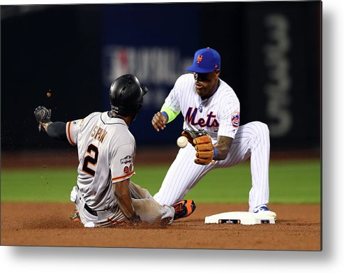 Playoffs Metal Print featuring the photograph Denard Span by Alex Trautwig