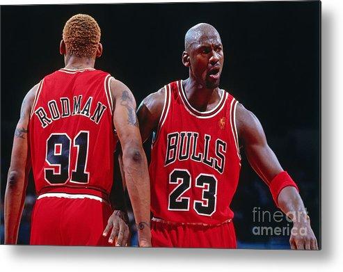 Chicago Bulls Metal Print featuring the photograph Dennis Rodman and Michael Jordan by Andrew D. Bernstein