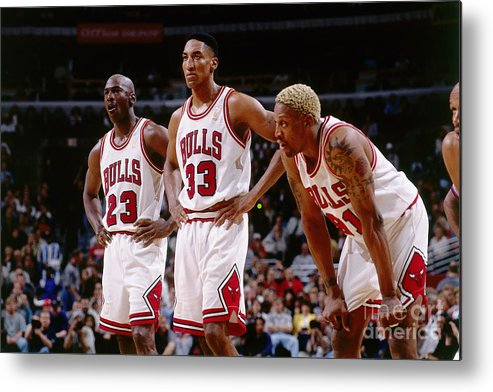 Chicago Bulls Metal Print featuring the photograph Dennis Rodman, Scottie Pippen, and Michael Jordan by Andrew D. Bernstein