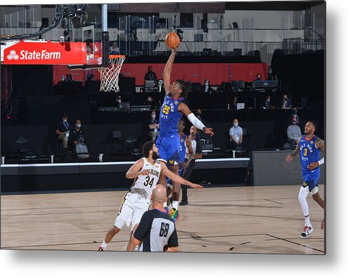 Nba Pro Basketball Metal Print featuring the photograph Denver Nuggets v New Orleans Pelicans by Garrett Ellwood