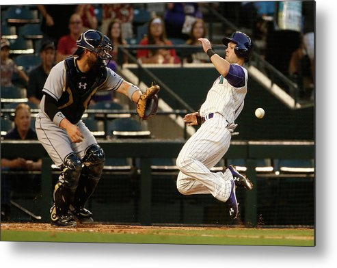 Baseball Catcher Metal Print featuring the photograph Derek Norris and Chris Owings by Christian Petersen