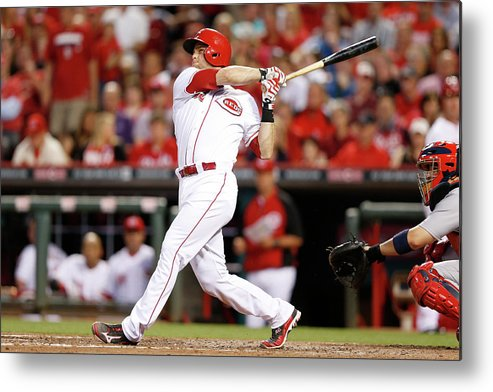 Great American Ball Park Metal Print featuring the photograph Devin Mesoraco by Joe Robbins