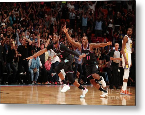 Nba Pro Basketball Metal Print featuring the photograph Dion Waiters and Dwyane Wade by Issac Baldizon