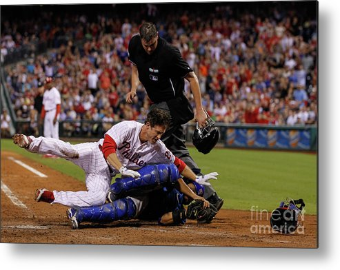 Dioner Navarro Metal Print featuring the photograph Dioner Navarro and Chase Utley by Brian Garfinkel