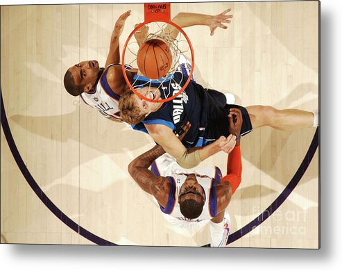 Nba Pro Basketball Metal Print featuring the photograph Dirk Nowitzki, Grant Hill, and Amar'e Stoudemire by Barry Gossage