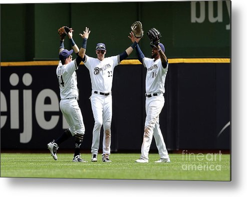 People Metal Print featuring the photograph Domingo Santana and Christian Yelich by Dylan Buell