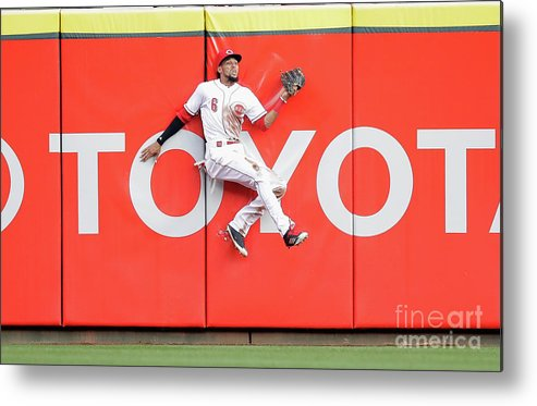 Great American Ball Park Metal Print featuring the photograph Domingo Santana, Ryan Braun, and Billy Hamilton by Andy Lyons
