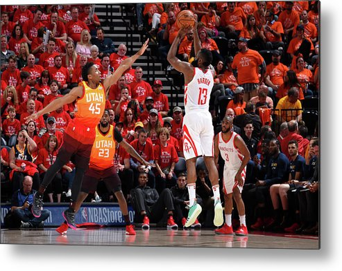 Playoffs Metal Print featuring the photograph Donovan Mitchell and James Harden by Andrew D. Bernstein