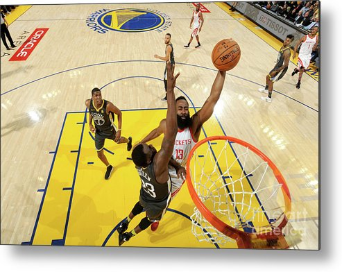 Playoffs Metal Print featuring the photograph Draymond Green and James Harden by Noah Graham