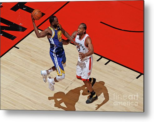 Playoffs Metal Print featuring the photograph Draymond Green and Kawhi Leonard by Mark Blinch