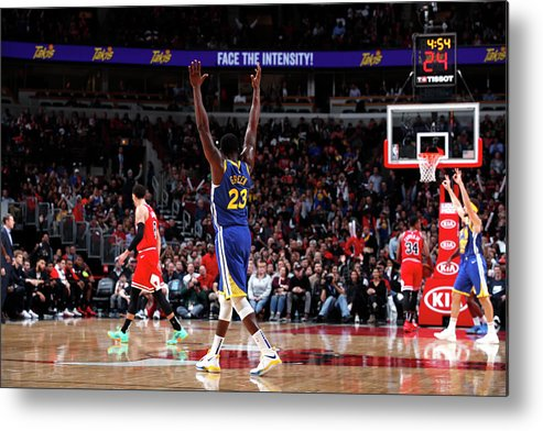Nba Pro Basketball Metal Print featuring the photograph Draymond Green and Klay Thompson by Jeff Haynes