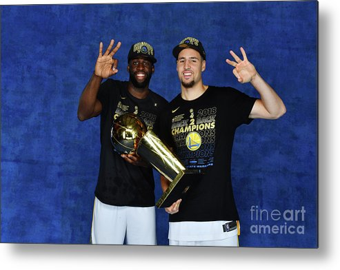 Playoffs Metal Print featuring the photograph Draymond Green and Klay Thompson by Jesse D. Garrabrant