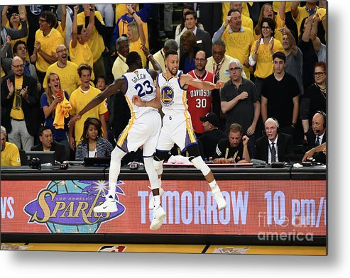 Playoffs Metal Print featuring the photograph Draymond Green and Stephen Curry by Garrett Ellwood