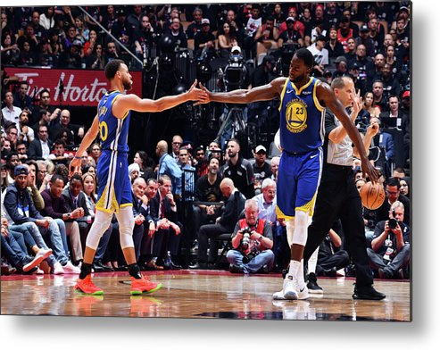 Playoffs Metal Print featuring the photograph Draymond Green and Stephen Curry by Jesse D. Garrabrant