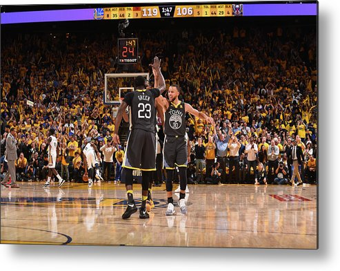 Playoffs Metal Print featuring the photograph Draymond Green and Stephen Curry by Noah Graham