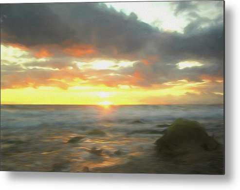 Seascape Metal Print featuring the mixed media Dreamy Seascape by Steve DaPonte