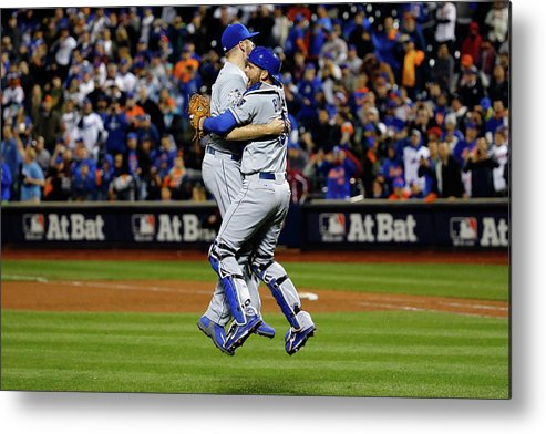 People Metal Print featuring the photograph Drew Butera and Wade Davis by Al Bello