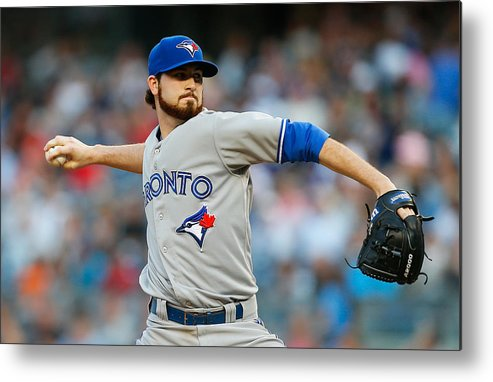 American League Baseball Metal Print featuring the photograph Drew Hutchison by Mike Stobe