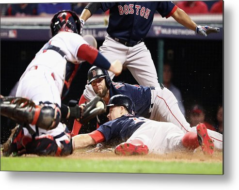 People Metal Print featuring the photograph Dustin Pedroia and Brock Holt by Maddie Meyer